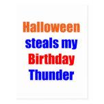 Trueno del cumpleaños de Halloween Tarjeta Postal