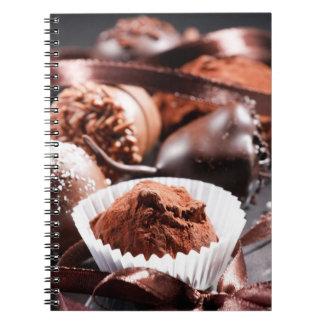 Trufas de chocolate libros de apuntes con espiral