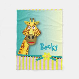 Trullo amarillo lindo divertido de la jirafa el | manta de forro polar