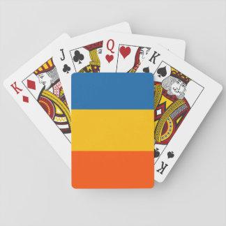 Trullo, amarillo, rayas anaranjadas barajas de cartas