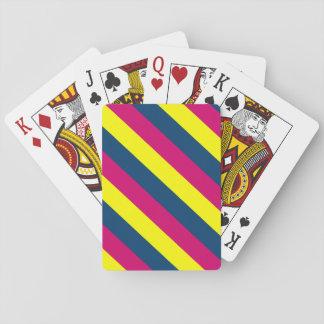 Trullo, amarillo, rosa, rayas barajas de cartas
