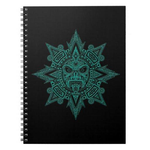 Trullo azteca de la máscara de Sun en negro Cuaderno