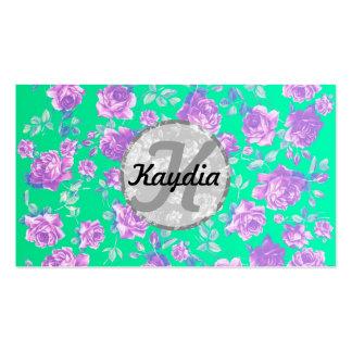 Trullo azul brillante de moda y monograma floral p plantilla de tarjeta de visita
