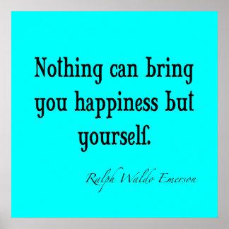 Trullo azul de neón de la cita de la felicidad de  póster