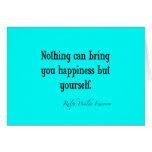 Trullo azul de neón de la cita de la felicidad de  tarjetón