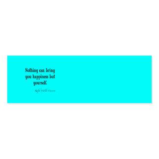 Trullo azul de neón de la cita de la felicidad de tarjetas de visita mini
