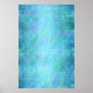 Trullo azul, púrpura, aguamarina, y acuarela póster