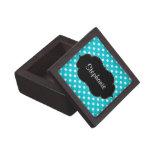 Trullo azul y lunar blanco personalizado caja de recuerdo de calidad