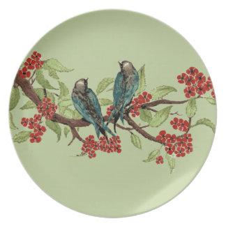 Trullo Birdson del vintage una flor de cerezo del Platos