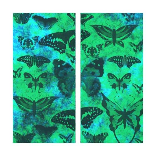 Trullo bonito y mariposas verdes impresión en lona estirada