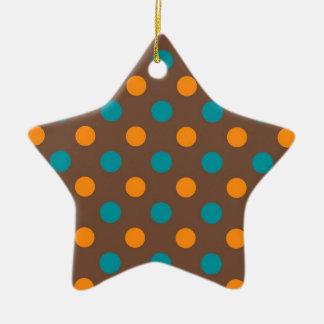 Trullo, Brown, y lunares anaranjados Adorno De Cerámica En Forma De Estrella