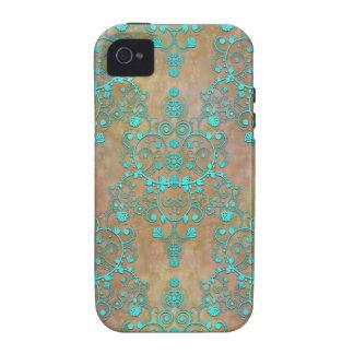 Trullo de la aguamarina sobre diseño del damasco d vibe iPhone 4 funda