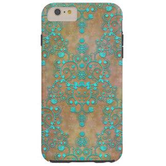 Trullo de la aguamarina sobre diseño del damasco funda resistente iPhone 6 plus