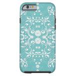 Trullo de la aguamarina y damasco floral blanco funda de iPhone 6 tough