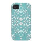 Trullo de la aguamarina y damasco floral blanco iPhone 4 carcasas