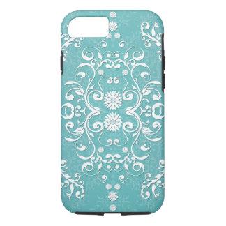 Trullo de la aguamarina y damasco floral blanco funda iPhone 7
