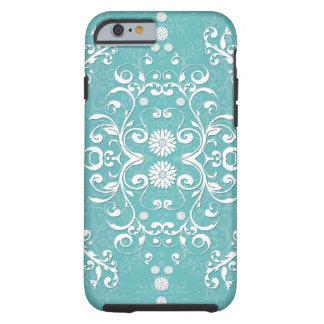 Trullo de la aguamarina y damasco floral blanco funda resistente iPhone 6