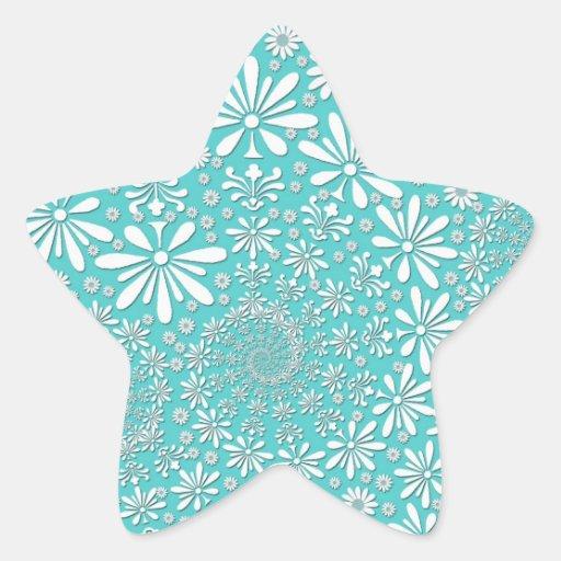 Trullo de la aguamarina y modelo de flores blanco pegatina en forma de estrella