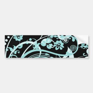 Trullo de la aguamarina y regalos florales negros pegatina para auto