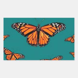 Trullo de la migración de las mariposas de monarca rectangular pegatinas