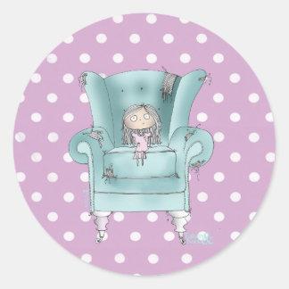 """Trullo de la """"silla cómoda"""" - y pegatinas rosados pegatina redonda"""