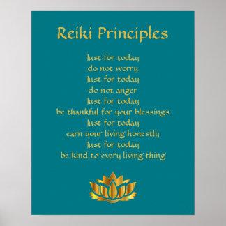 Trullo de los principios de Reiki/oro Lotus Póster