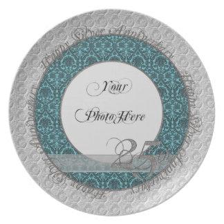 Trullo de plata del damasco de la placa de la foto platos de comidas
