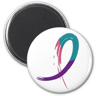 Trullo del cáncer de tiroides, púrpura, y cinta A4 Imán Redondo 5 Cm