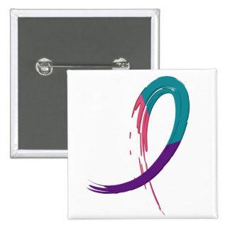 Trullo del cáncer de tiroides, púrpura, y cinta A4 Pin Cuadrado