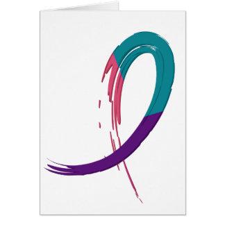 Trullo del cáncer de tiroides, púrpura, y cinta A4 Tarjeta De Felicitación