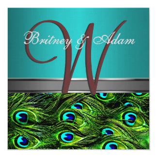 Trullo del monograma y invitaciones verdes del invitación 13,3 cm x 13,3cm