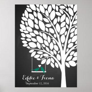trullo del pájaro del árbol del libro de visitas póster
