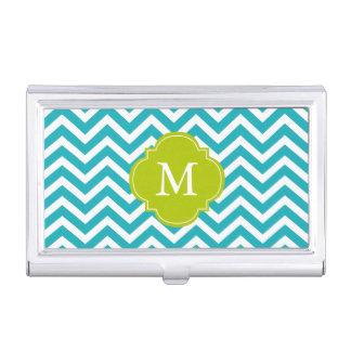 Trullo del pavo real y modelo de zigzags verde cajas de tarjetas de negocios