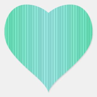 Trullo del verde azul de Aquamarine de las rayas Pegatina En Forma De Corazón