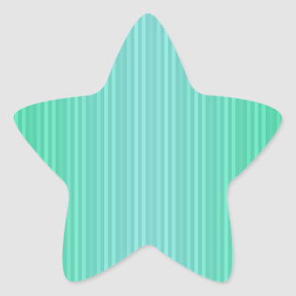 Trullo del verde azul de Aquamarine de las rayas Pegatina En Forma De Estrella
