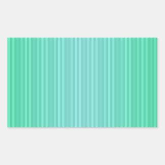 Trullo del verde azul de Aquamarine de las rayas Pegatina Rectangular