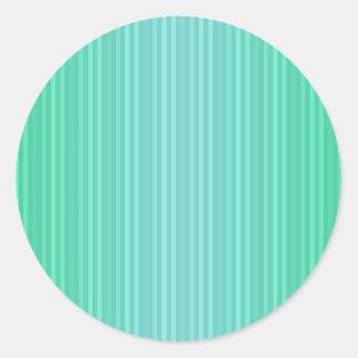 Trullo del verde azul de Aquamarine de las rayas Pegatina Redonda