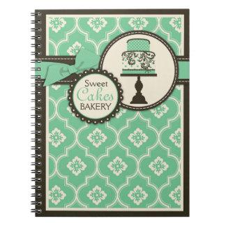 Trullo dulce del cuaderno del negocio de la torta