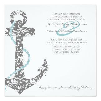Trullo e invitación gris del boda de playa del invitación 13,3 cm x 13,3cm