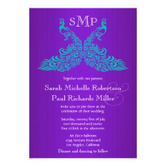 Trullo e invitaciones púrpuras del boda del pavo r