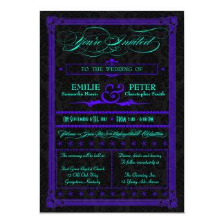 Trullo eléctrico y invitación púrpura del boda del