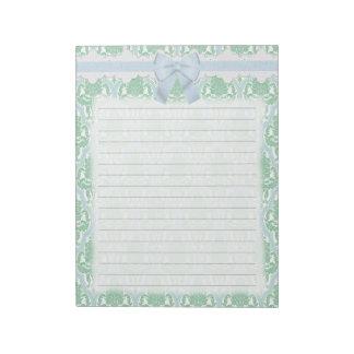 Trullo elegante lamentable y damasco azul bloc de notas