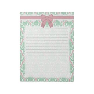 Trullo elegante lamentable y damasco rosado blocs de papel