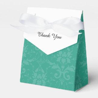 Trullo elegante personalizado y damasco blanco cajas para regalos de fiestas