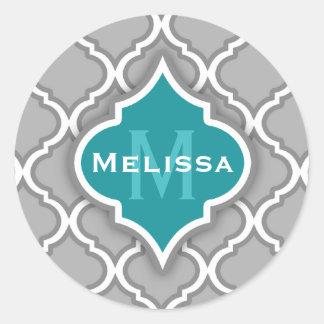 Trullo elegante y modelo marroquí gris de la teja pegatinas redondas
