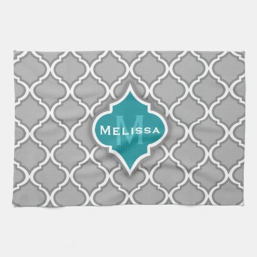 Trullo elegante y modelo marroquí gris de la teja toallas de cocina