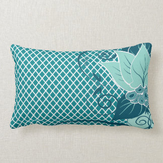 Trullo floral abstracto de la aguamarina de la red almohadas