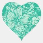 Trullo floral del flujo calcomanías corazones personalizadas