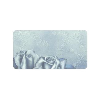 Trullo helado y rosa de invierno azul etiqueta de dirección