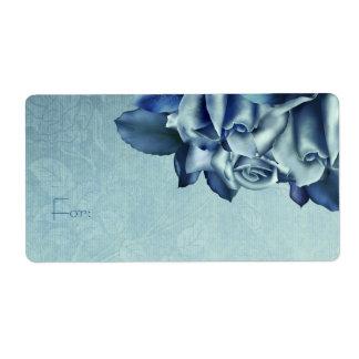 Trullo helado y rosas de invierno azules etiqueta de envío